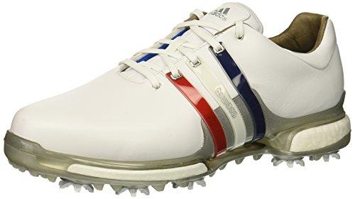 adidas Men's Tour 2.0 Golf Shoe, FTWR White/Scarlet/Night Sky