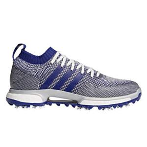 adidas Men's Knit Golf Shoe, Grey one/Real Purple FTWR White