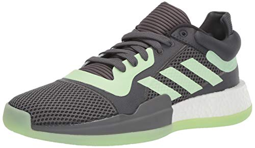 adidas Men's Marquee Boost Low Basketball Shoe, Carbon/Glow Green/Grey