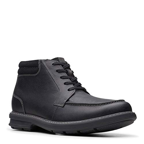 Clarks Men's Rendell Rise Ankle Boot, Black Leather