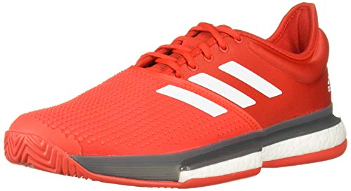 adidas Men's SoleCourt Boost Tennis Shoe, Active Red/White/Grey