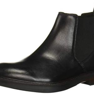 CLARKS Men's Paulson Up Chelsea Boot, Black Leather
