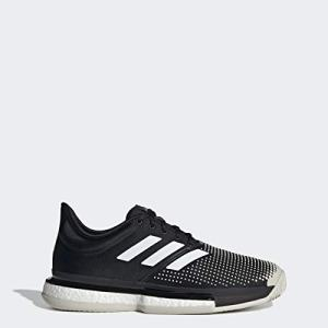adidas Men's SoleCourt Boost Clay Tennis Shoe, Black/White/raw White