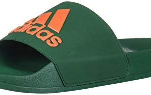adidas Men's Adilette Shower Mule, Dark Green/orange/dark Green