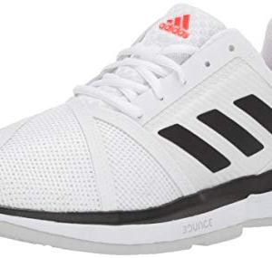 adidas Men's CourtJam Bounce Tennis Shoe, White/Black/Light Grey Heather