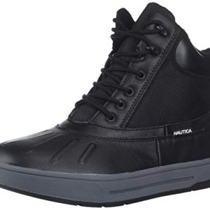 Nautica Men's New Bedford Ankle Boot, Black Smooth