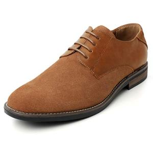 ZRIANG Men's Suede Splicing Dress Shoes Classic Genuine Leather Oxfords
