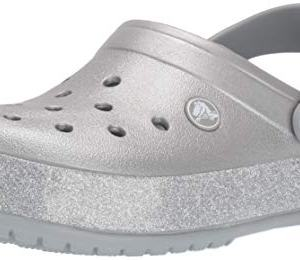 Crocs Crocband Printed Glitter Clog, Metallic Silver