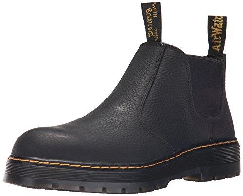 Dr. Martens Men's Rivet Steel Toe Chelsea Boot,Black Pitstop Leather
