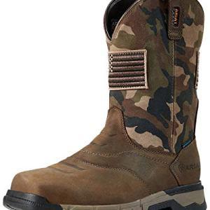 ARIAT Men's Rebar Patriot Waterproof Western Work Boot Square Toe Brown