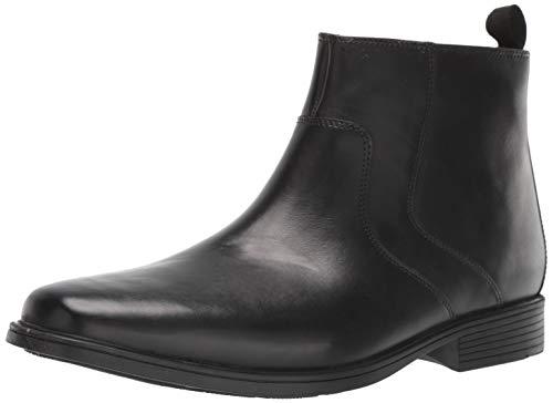Clarks Men's Tilden Zip II Waterproof Boot Ankle, Black Leather