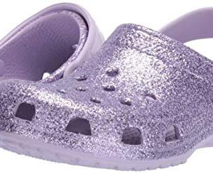 Crocs Kids' Classic Glitter Clog, Lavender, 11 M US Little Kid