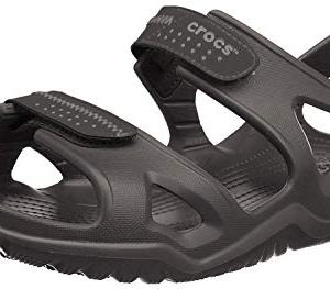 Crocs Men's Swiftwater River Sandal Fisherman, Black/Black, 8 M US
