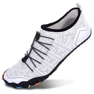 L-RUN Unisex Quick Drying Water Shoes for Swim Surf Beach White Women