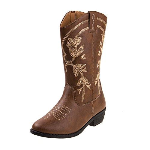 Kensie Girl Kids Western Cowboy Boot, Brown