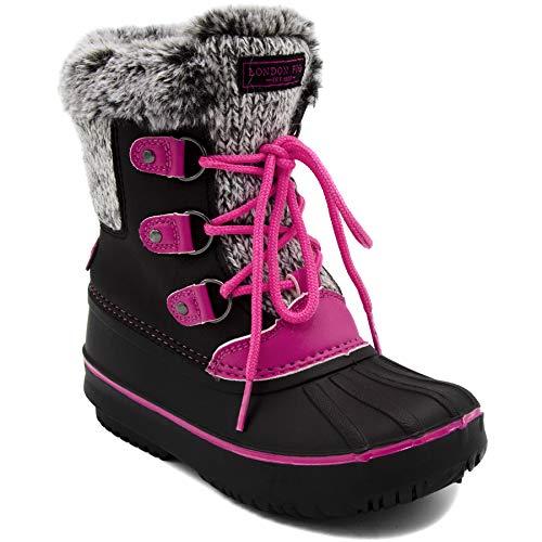 LONDON FOG Girls Tottenham Cold Weather Snow Boot BK/PK