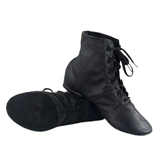 Cheapdancing Children's Practice Dancing Shoes Soft Leather Flat Lace-up Jazz