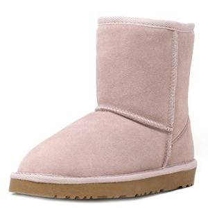 DREAM PAIRS Little Kid Shorty-K Pink Sheepskin Fur Winter Snow Boots