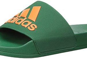 adidas Men's Adilette Shower Sport Sandal, Dark Green/orange/dark Green
