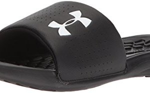 Under Armour Men's Playmaker Fixed Strap Slide Sandal, Black (001)/White, 11