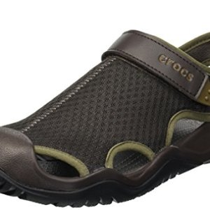 crocs Men's Swiftwater Mesh Deck Sandal Sport, Espresso