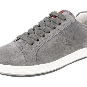 Prada Men's Grey Leather Sneaker US