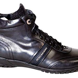 Dino Bigioni Black Italian Designer Leather Men Sneakers