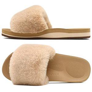 Sliders Plush House Slippers Flat Sandals For Women