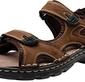 Men's Sandals Leather Open Toe Beach Sandal Dark Brown