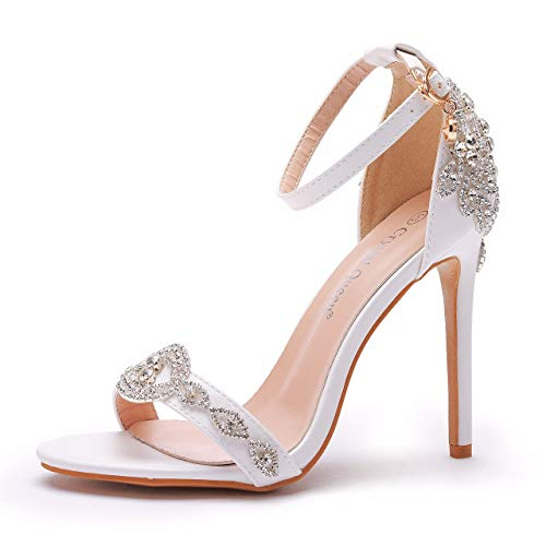 Luxury Rhinestone Stiletto Heels Peep Toe Thin Heel Pump Shoes