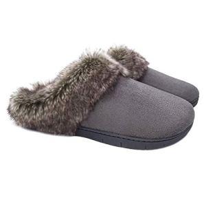 Womens Moccasins Suede Memory Foam Fur Slipper