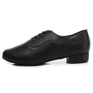 DKZSYIM Men's Black Leather Professional Latin Dance Shoes