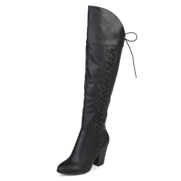 aux Leather Faux Lace-up Over-the-knee Boot