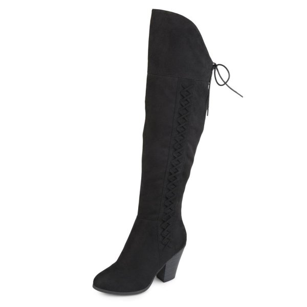 Brinley Co. Womens Siro Faux Suede Over-the-knee Boots Black