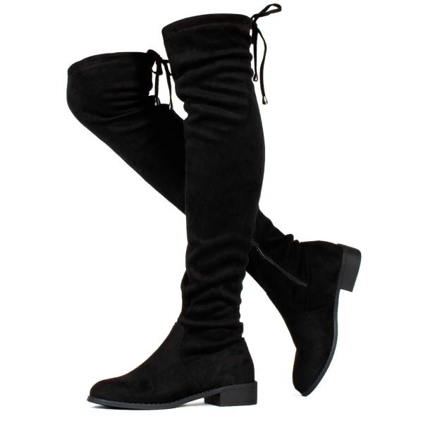 Women's Stretchy Over The Knee Riding Boots Black