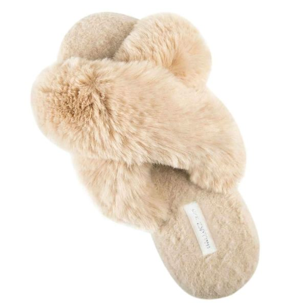 HALLUCI Women's Cross Band Soft Plush Indoor or Outdoor Slippers