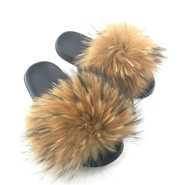 Yu He Womens Luxury Real Raccon Fur Slippers