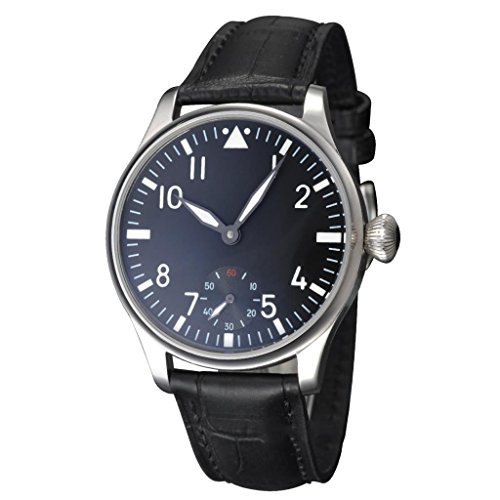 Fanmis Black Dial Silver Hand Wind Mechanical Wrist Watch