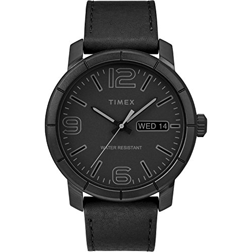 Timex Men's Mod 44 Black Leather Strap Watch