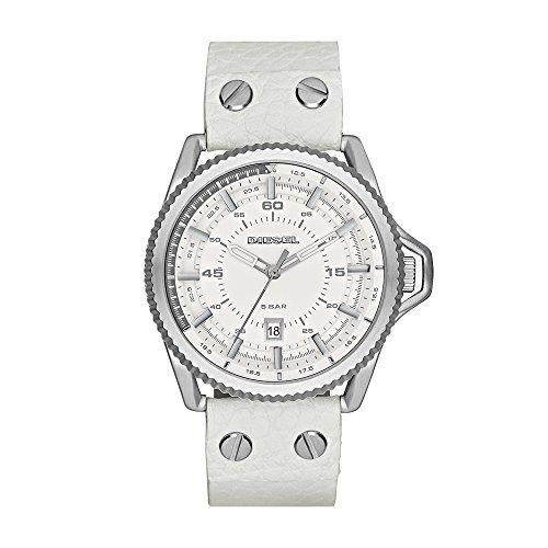Diesel Men's Rollcage Stainless Steel White Leather Watch