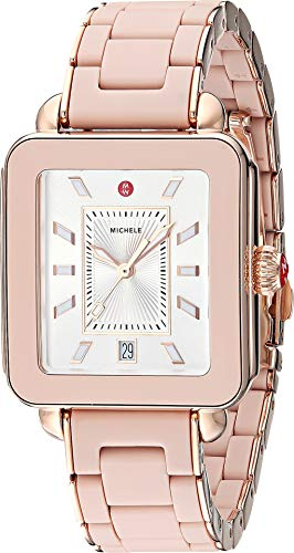 Michele Women's Deco Sport - Desert Rose Wrapped Silicone/Pink Gold Tone Case