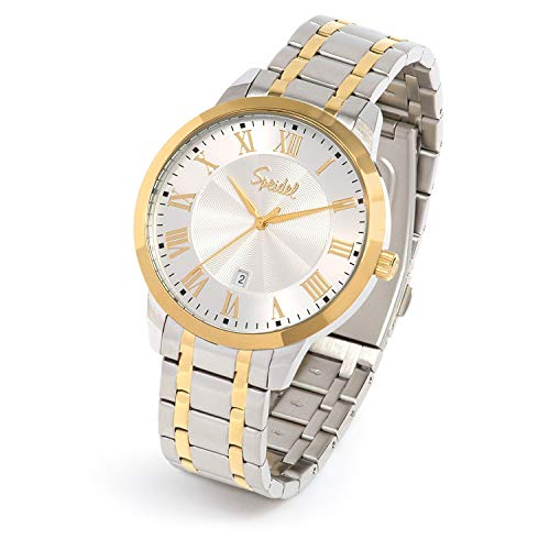 Speidel Classic Stainless Steel Gold Tone Roman Numeral Watch