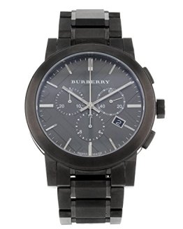 Burberry Men's Large Check Gray Ion Plated Stainless Steel Watch