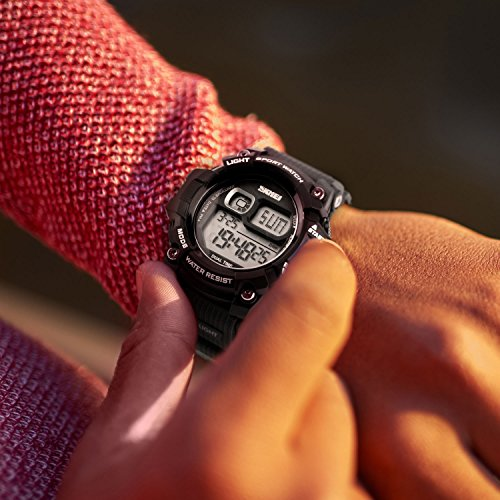 Men's Digital Sports Watch, Aposon Military Electronic Wrist Watch Alarm Back  Men's Digital Sports Watch, Aposon Military Electronic Wrist Watch Alarm Back Light LED Waterproof Army Watches Stopwatch- Black