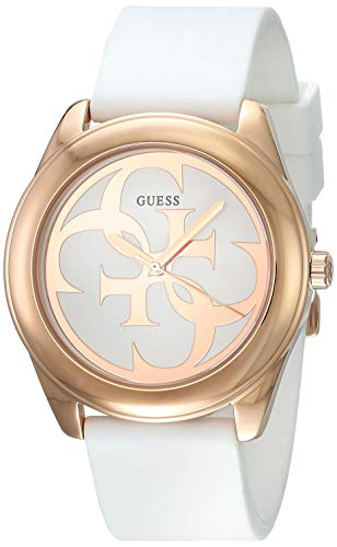 Guess G Twist White Dial Silicone Strap Ladies Watch
