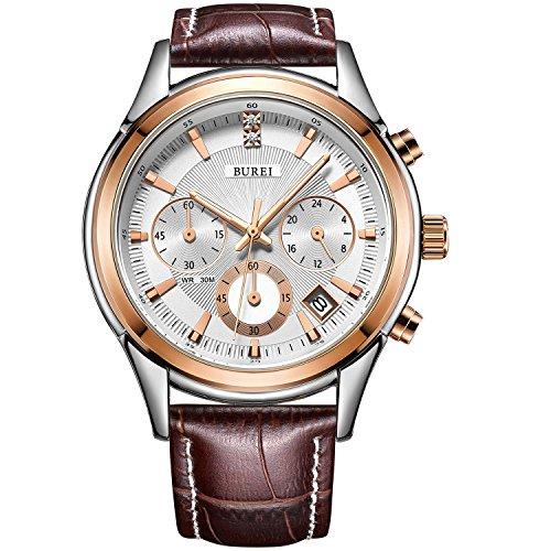 BUREI Men's Elegant Chronograph Watch with Date Display