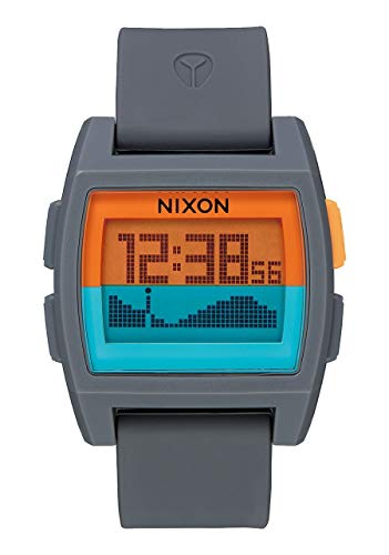 Nixon Base Tide Gray/Orange/Teal Men's Surf Watch with Silicone Band