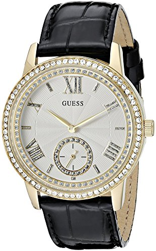 GUESS Women's Elegant Black & Gold-Tome Watch