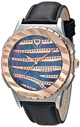 Brillier Swiss Quartz Stainless Steel and Leather Casual Watch