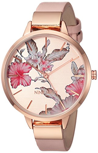 Nine West Women's Rose Gold-Tone and Blush Pink Strap Watch